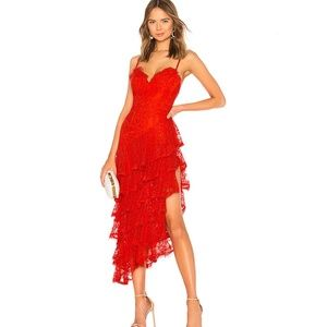 MAJORELLE Oracle Tiered Lace Gown Dress Red Size